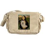 MonaLisa-AmEskimoDog Messenger Bag