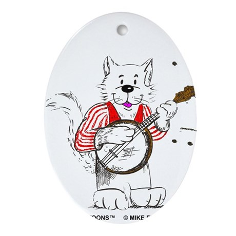 Banjo Cat Ornament (Oval)