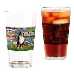 Lilies2-Tri Aussie Shep2 Drinking Glass