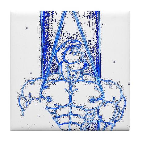 TREE BOUND_DARK BLUE ON BLK Tile Coaster