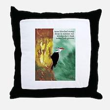 Woodpecker Haiku Throw Pillow