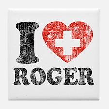 I Heart Roger Grunge Tile Coaster