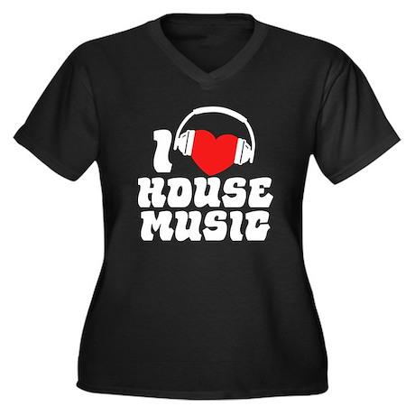 I Love House Music Women's Plus Size V-Neck Dark T