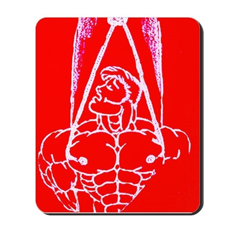 TREE BOUND WHITE ON RED Mousepad