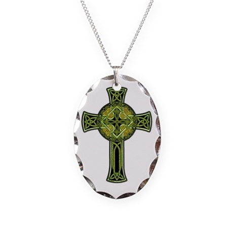 Celtic Cross Necklace Oval Charm