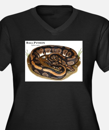 Ball Python Women's Plus Size V-Neck Dark T-Shirt
