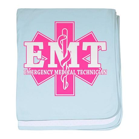 Star of Life EMT - pink baby blanket