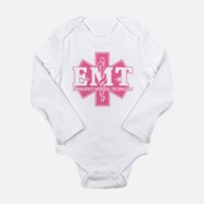 Star of Life EMT - pink Long Sleeve Infant Bodysui