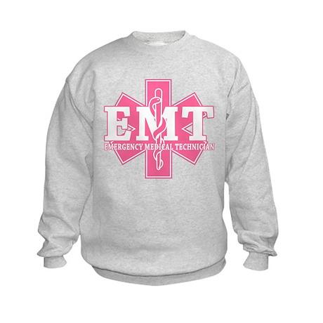 Star of Life EMT - pink Kids Sweatshirt