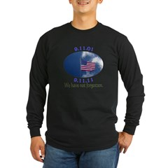 9-11 Not Forgotten Long Sleeve Dark T-Shirt