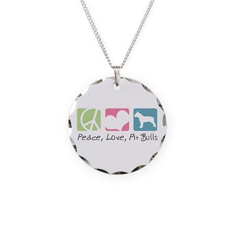 Peace, Love, Pit Bulls Necklace Circle Charm