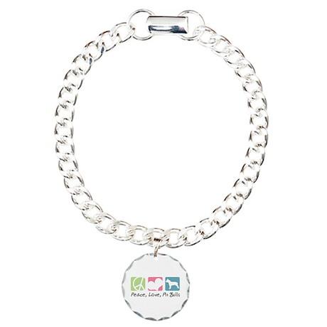 Peace, Love, Pit Bulls Charm Bracelet, One Charm