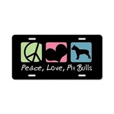 Peace, Love, Pit Bulls Aluminum License Plate