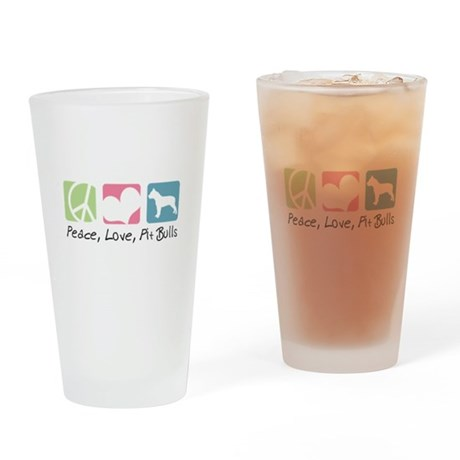 Peace, Love, Pit Bulls Drinking Glass