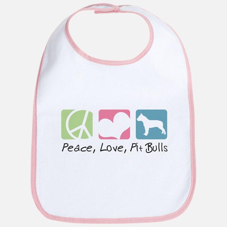 Peace, Love, Pit Bulls Bib