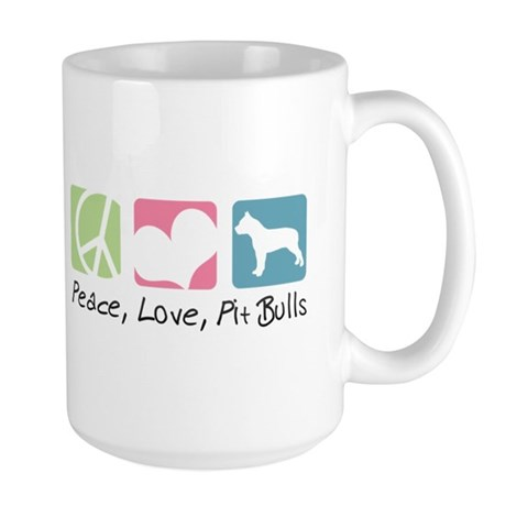 Peace, Love, Pit Bulls Large Mug