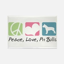 Peace, Love, Pit Bulls Rectangle Magnet