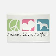Peace, Love, Pit Bulls Rectangle Magnet (100 pack)