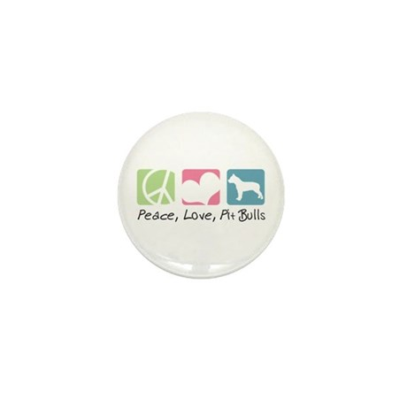 Peace, Love, Pit Bulls Mini Button