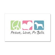 Peace, Love, Pit Bulls Car Magnet 20 x 12