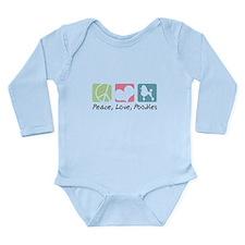 Peace, Love, Poodles Long Sleeve Infant Bodysuit