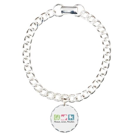 Peace, Love, Poodles Charm Bracelet, One Charm