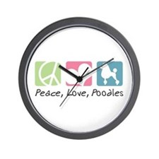 Peace, Love, Poodles Wall Clock