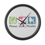 Peace, Love, Poodles Large Wall Clock