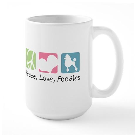 Peace, Love, Poodles Large Mug