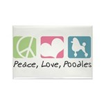 Peace, Love, Poodles Rectangle Magnet (100 pack)