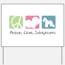 Peace, Love, Schnauzers Yard Sign