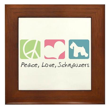 Peace, Love, Schnauzers Framed Tile