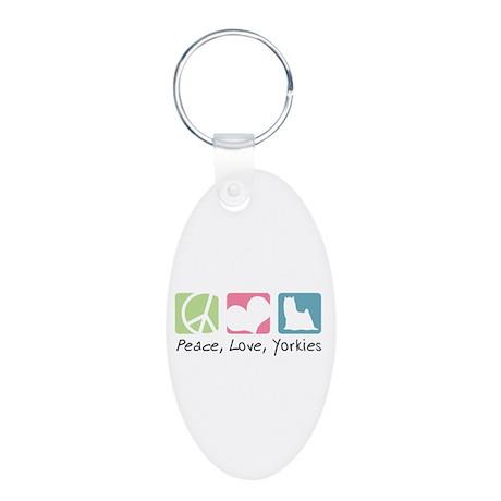 Peace, Love, Yorkies Aluminum Oval Keychain