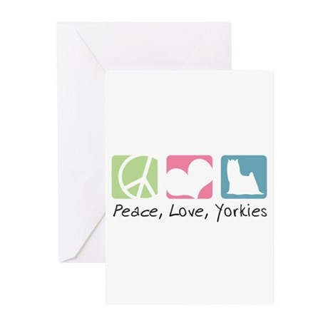 Peace, Love, Yorkies Greeting Cards (Pk of 20)