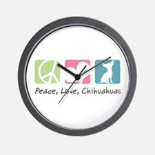 Peace, Love, Chihuahuas Wall Clock
