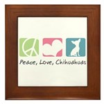 Peace, Love, Chihuahuas Framed Tile