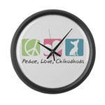 Peace, Love, Chihuahuas Large Wall Clock