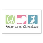 Peace, Love, Chihuahuas Sticker (Rectangle 50 pk)