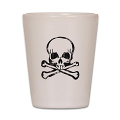 Worn Skull and Crossbones Shot Glass
