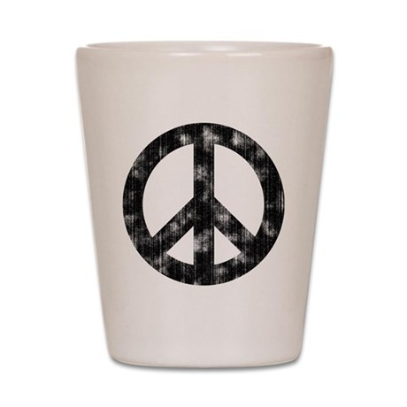 Distressed Peace Sign Shot Glass