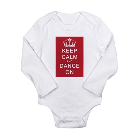 Keep Calm and Dance On (Red) Long Sleeve Infant Bo