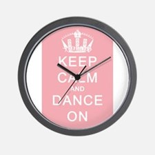 Keep Calm and Dance On (Pink) Wall Clock