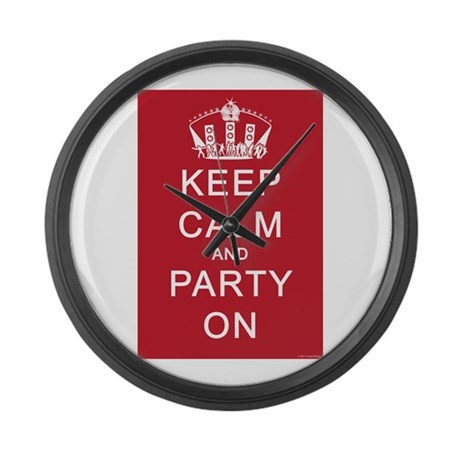Keep Calm and Party On (Red) Large Wall Clock