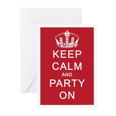 Keep Calm and Party On (Red) Greeting Cards (Pk of