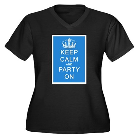 Keep Calm and Party On (Blue) Women's Plus Size V-