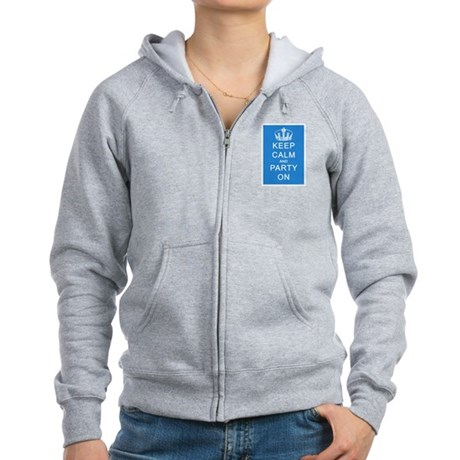 Keep Calm and Party On (Blue) Women's Zip Hoodie