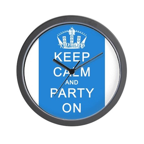Keep Calm and Party On (Blue) Wall Clock
