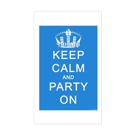 Keep Calm and Party On (Blue) Sticker (Rectangle)