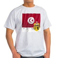 Silky Flag Tunisia/Arab Ash Grey T-Shirt