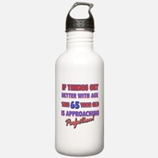 Funny 65th Birthdy designs Water Bottle